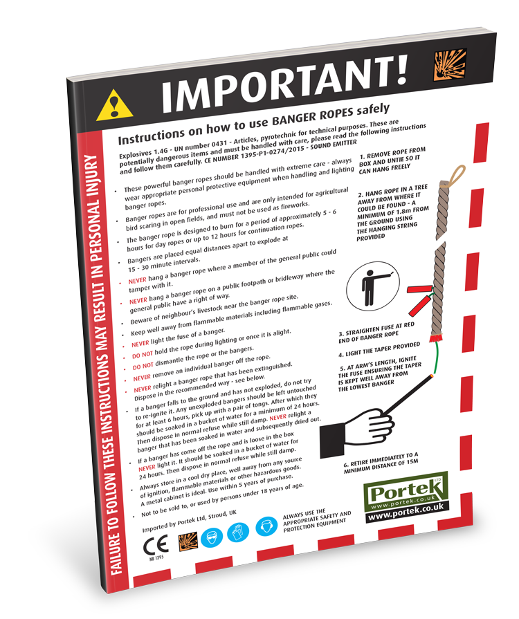 portek bird scaring banger rope safety sheet