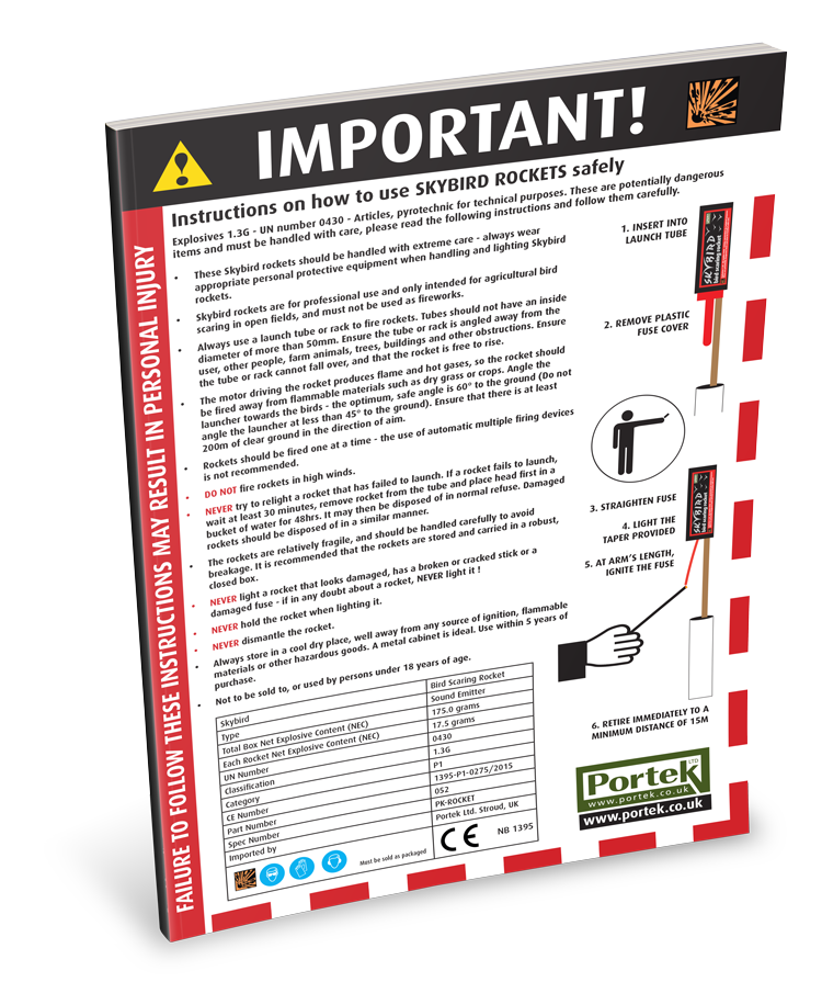 portek bird scaring rockets safety sheet