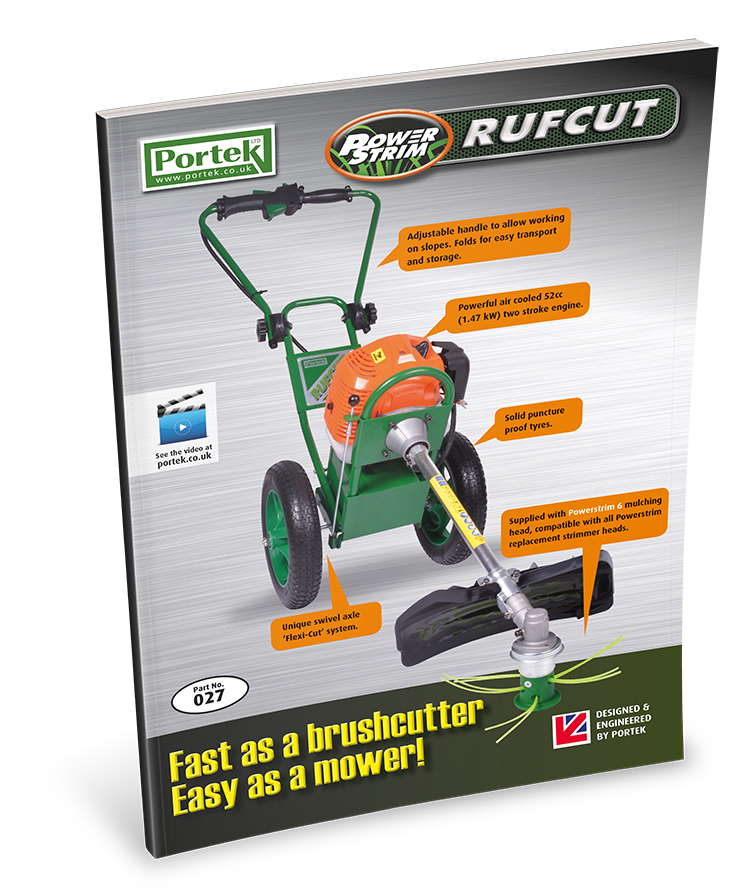 portek rufcut wheeled strimmer brush cutter sales leaflet