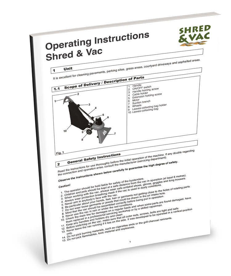 Portek Shred & Vac Garden Vacuum Operators Instructions